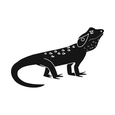 Illustrazione vettoriale di lucertola e icona di agama. Insieme di simbolo di borsa lucertola e creatura per il web.