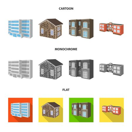 Isolated object of facade and housing icon. Set of facade and infrastructure vector icon for stock. Banque d'images - 127351700