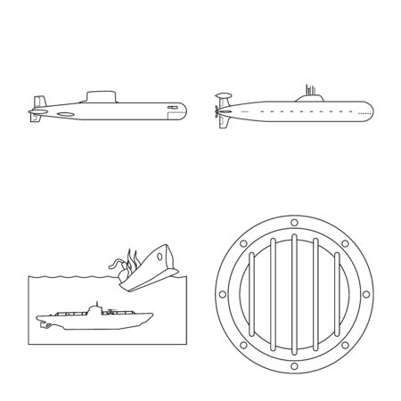 Isolated object of boat and navy logo. Set of boat and deep stock symbol for web. 일러스트