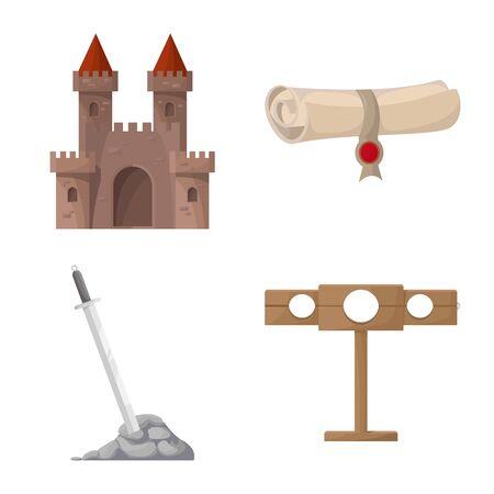 Vector illustration of medieval and history symbol. Set of medieval and tournament stock vector illustration. Vektoros illusztráció