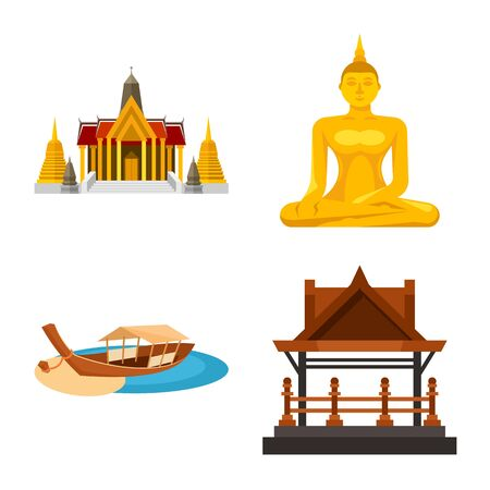 Vector design of thailand and travel. Set of thailand and culture stock symbol for web. Illustration