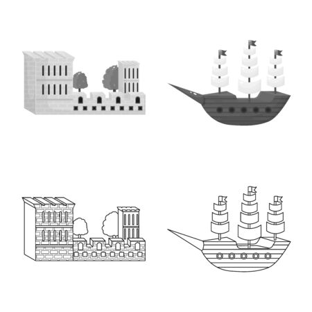 Vector design of and historic symbol. Set of and country vector icon for stock.