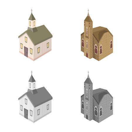 Vector design of temple and historic symbol. Set of temple and faith vector icon for stock.