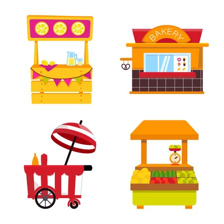 Vector illustration of and booth icon. Collection of and vending vector icon for stock. 矢量图像