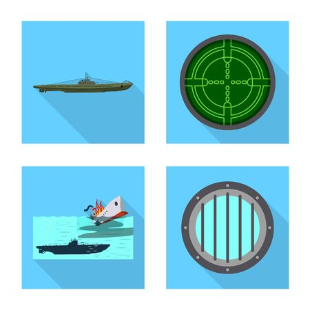 Vector design of military and nuclear sign. Collection of military and ship stock vector illustration.