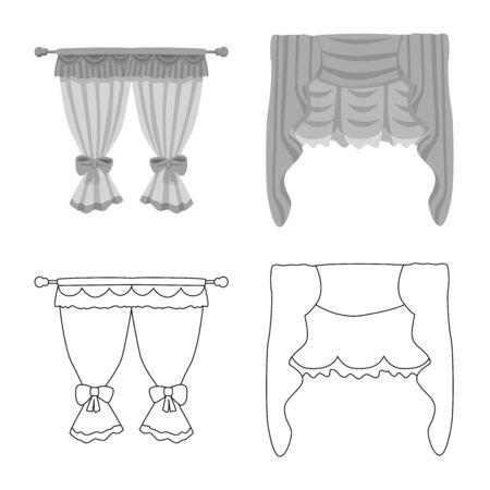 Vector illustration of curtains and drapes icon. Set of curtains and blinds vector icon for stock. Illusztráció
