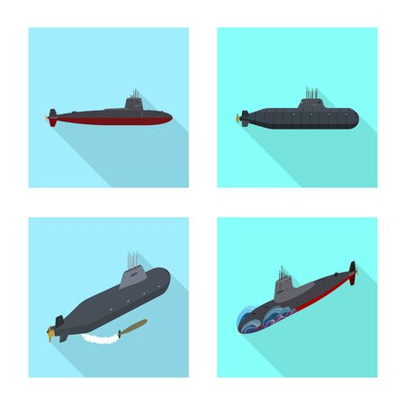 Vector design of military and nuclear sign. Set of military and ship vector icon for stock.