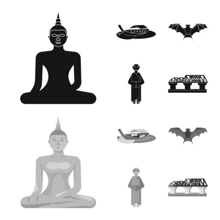Isolated object of journey and exotic logo. Set of journey and national vector icon for stock. Ilustrace