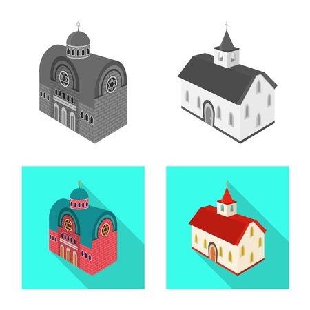 Vector design of temple and historic symbol. Collection of temple and faith stock vector illustration.