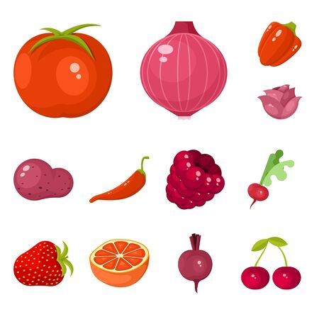 Isolated object of vegetable and food sign. Collection of vegetable and ripe vector icon for stock. Illusztráció