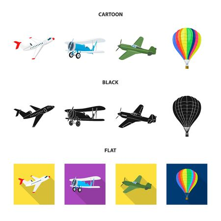 Vector design of plane and transport icon. Collection of plane and sky stock vector illustration. Banque d'images - 127381427