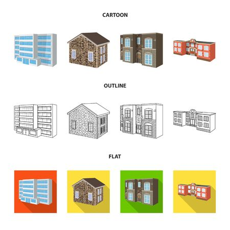 Vector design of facade and housing icon. Collection of facade and infrastructure stock symbol for web. Banque d'images - 127381482