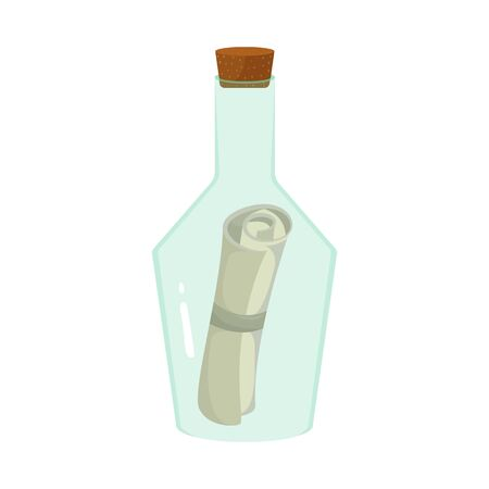 Isolated object of bottle and letter symbol. Set of bottle and scroll stock vector illustration.