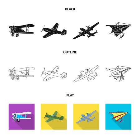 Isolated object of plane and transport symbol. Set of plane and sky stock bitmap illustration. Banque d'images - 127518917