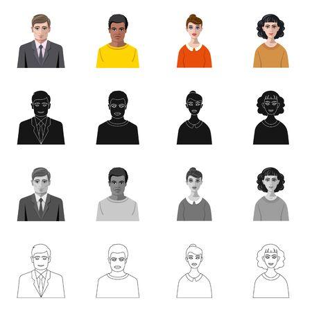 bitmap illustration of hairstyle and profession symbol. Collection of hairstyle and character stock bitmap illustration. Reklamní fotografie