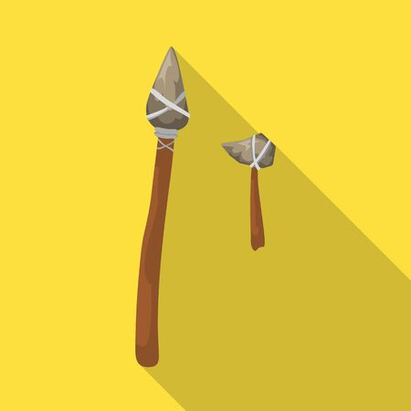 Isolated object of prehistoric and arrow icon. Collection of prehistoric and spear bitmap icon for stock.