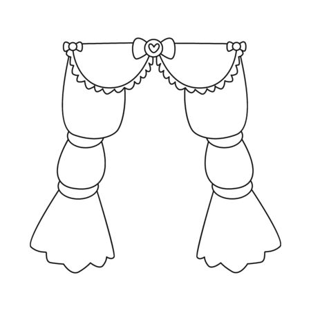 bitmap illustration of curtain and apartment icon. Set of curtain and jalousie stock bitmap illustration.
