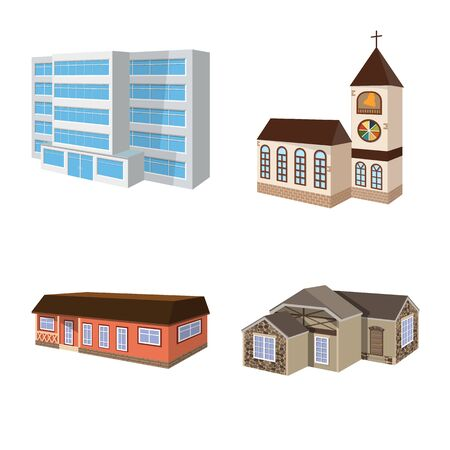 Isolated object of building and home. Set of building and construction stock symbol for web.