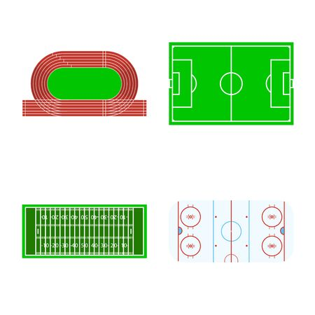 Vector design of field and arena icon. Set of field and sport vector icon for stock. Ilustração