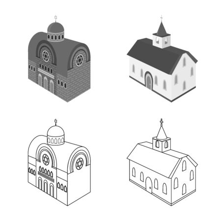Vector illustration of temple and historic icon. Set of temple and faith stock vector illustration.