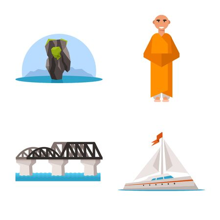 Isolated object of thailand and travel symbol. Set of thailand and culture stock vector illustration.