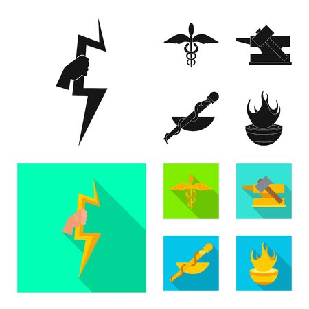 Vector design of deity and antique symbol. Collection of deity and myths vector icon for stock. Stock Vector - 127621499