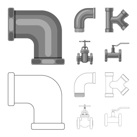 Vector illustration of pipe and tube icon. Set of pipe and pipeline stock symbol for web.