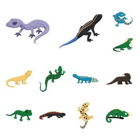 Conception de vecteur de signe d'animal et de reptile. Ensemble de symbole boursier animal et nature pour le web.