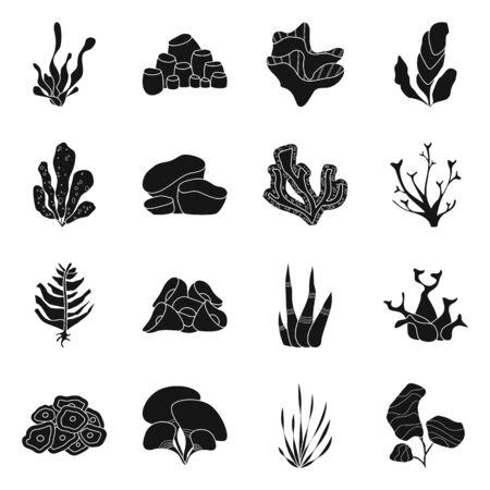 Vector design of decoration and wildlife sign. Set of decoration and aquarium stock vector illustration. Illustration