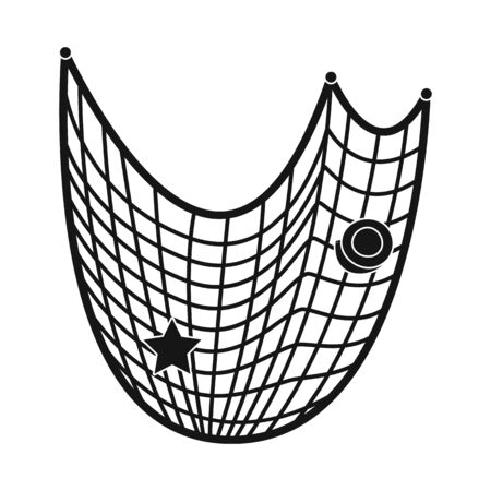 Isolated object of fishnet and fish  . Set of fishnet and catch stock symbol for web.