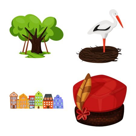 Vector design of poland and travel . Set of poland and europe vector icon for stock.