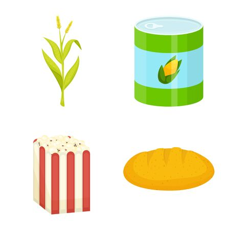 Vector design of maize and food sign. Set of maize and crop stock vector illustration.