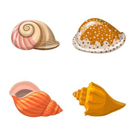 Disegno vettoriale di segno di conchiglie e molluschi. Insieme di simbolo di borsa di conchiglie e frutti di mare per il web. Vettoriali