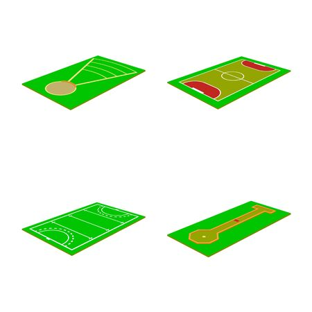 Vector design of stadium and grass icon. Set of stadium and construction stock vector illustration. 向量圖像
