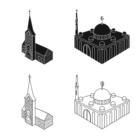 Vector design of temple and historic icon. Collection of temple and faith stock symbol for web.