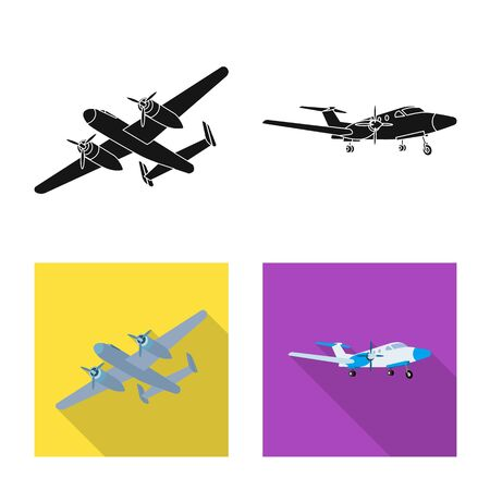 Isolated object of plane and transport logo. Collection of plane and sky vector icon for stock. Banque d'images - 127674126