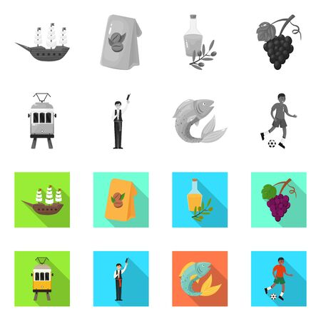Vector illustration of and historic symbol. Collection of and country vector icon for stock.