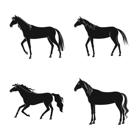 Vector design of fauna and mare symbol. Set of fauna and stallion vector icon for stock.