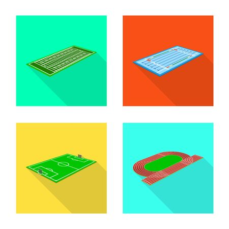 Vector design of playground and sport sign. Collection of playground and scene stock symbol for web. Illustration