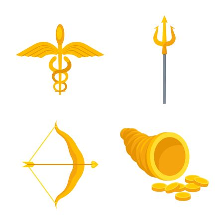 Vector illustration of attributes and greek icon. Set of attributes and god stock vector illustration.