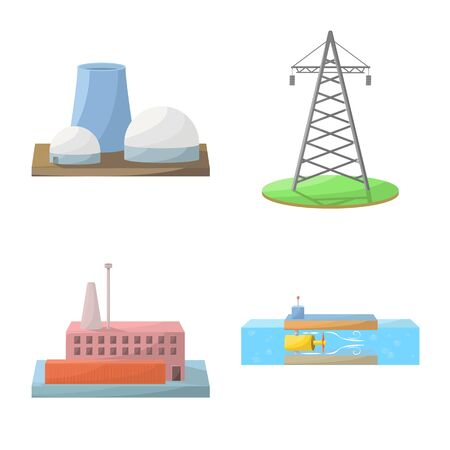 Vector design of energy and alternative sign. Collection of energy and development stock vector illustration.