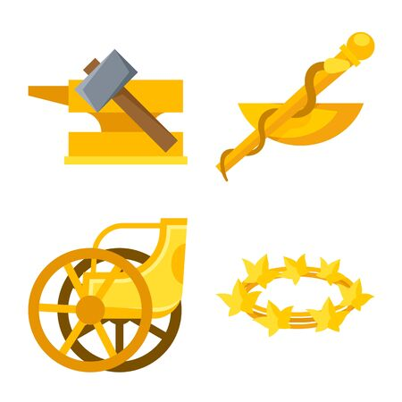 Isolated object of attributes and greek symbol. Collection of attributes and god stock symbol for web.