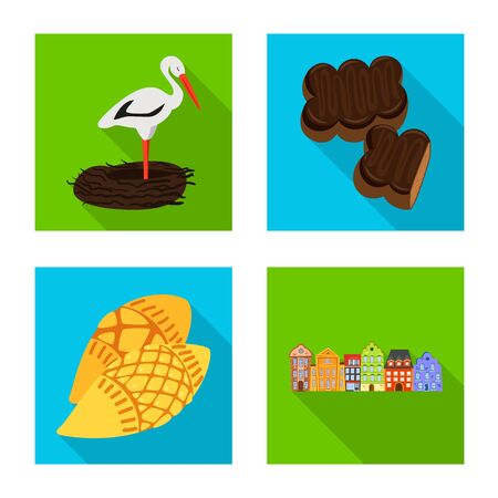 Vector illustration of traditional and tour logo. Set of traditional and landmarks vector icon for stock. Ilustração