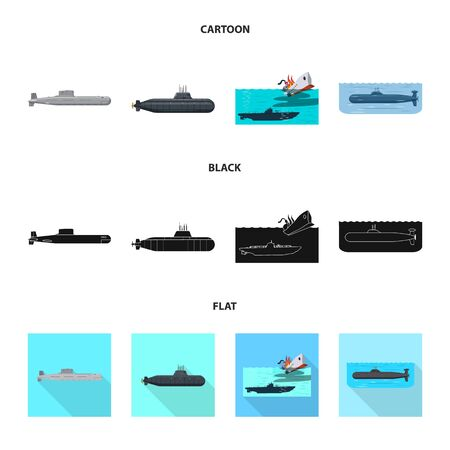 Vector illustration of war and ship icon. Set of war and fleet stock vector illustration. Иллюстрация