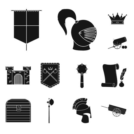 Vector design of traditional and renaissance logo. Collection of traditional and history stock vector illustration.