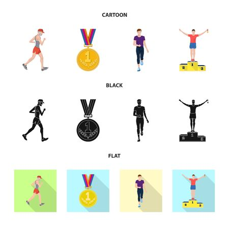 Vector illustration of sport and winner icon. Set of sport and fitness vector icon for stock. 向量圖像