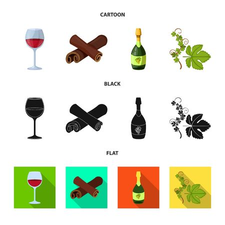 Vector illustration of farm and vineyard sign. Collection of farm and product stock symbol for web. Ilustração