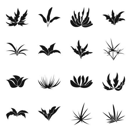 Oggetto isolato dell'icona della natura e dell'ambiente. Set di illustrazione vettoriale d'archivio natura ed erba. Vettoriali