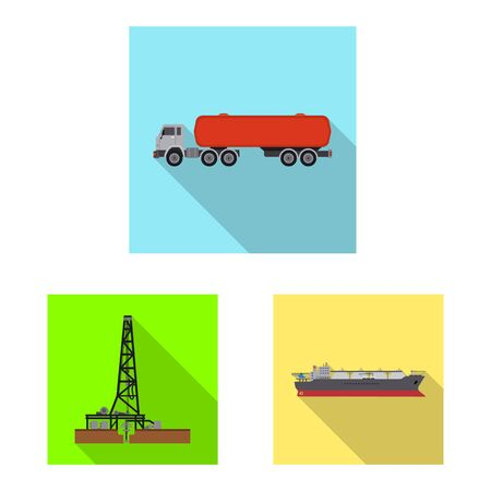 Isolated object of oil and gas icon. Collection of oil and petrol stock symbol for web.