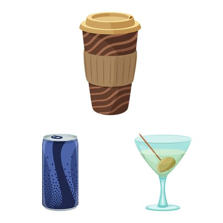 Isolated object of drink and bar symbol. Collection of drink and party stock bitmap illustration. Banco de Imagens